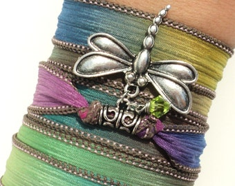 Silk Wrap Bracelet, Yoga Jewelry, Dragonfly, Boho Chic, Colorful, Hippie, Bohemian, Unique Gift For Her Birthday Under 50 Item V53