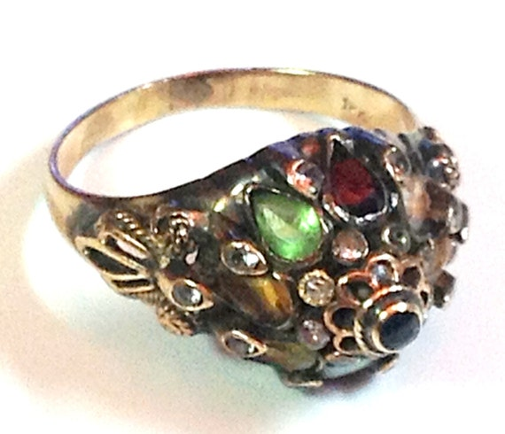 18k and silver thai princess ring quality multi gem