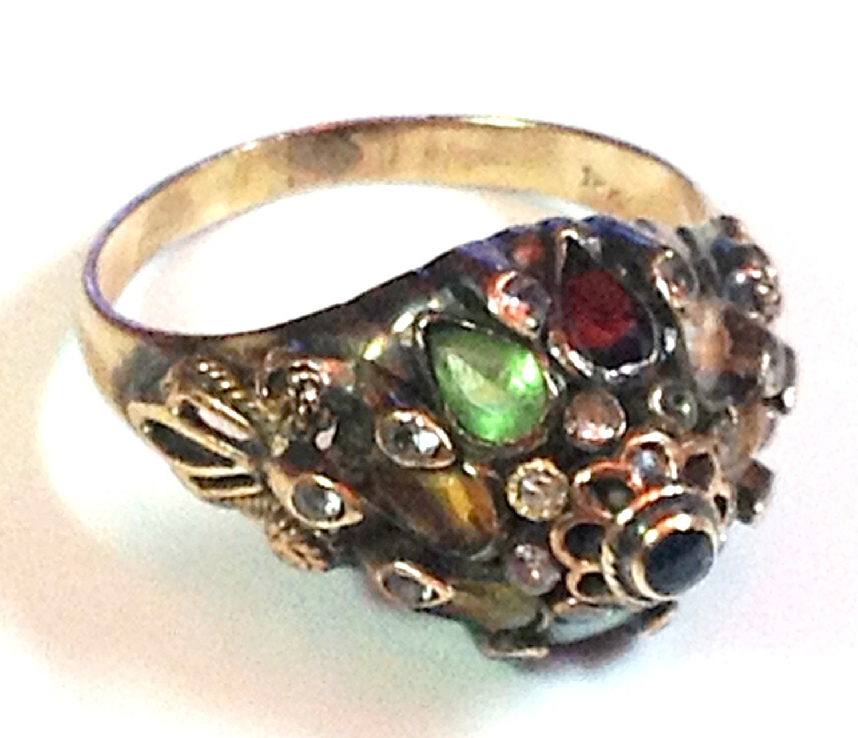 18k and silver thai princess ring quality multi gem