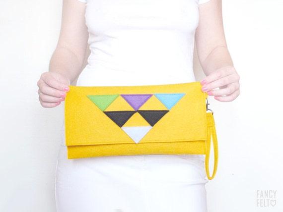 SALE 20%OFF Geometric yellow felt clutch bag
