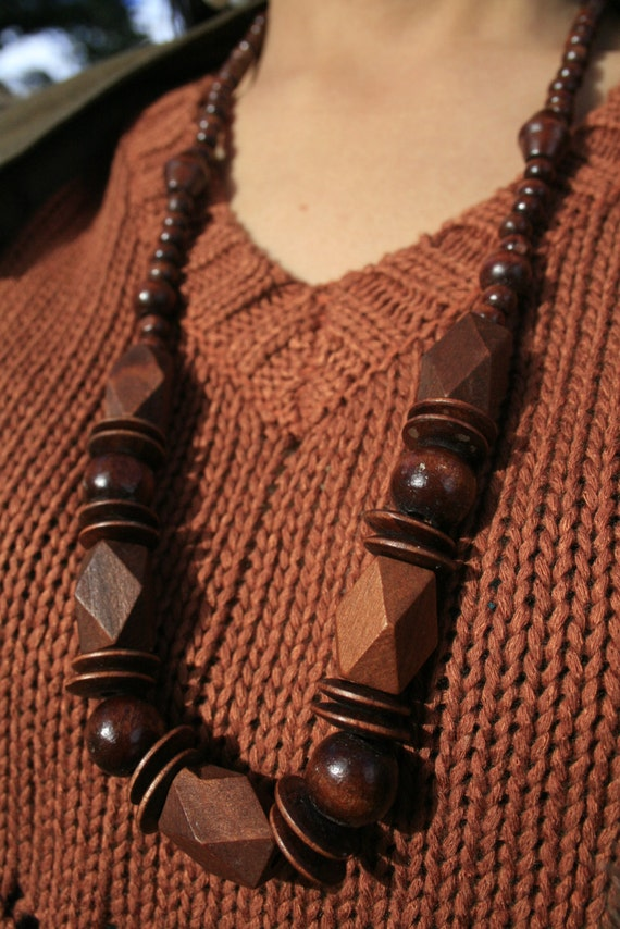 Bohemian Wood Bead Necklace (NOW ON SALE)