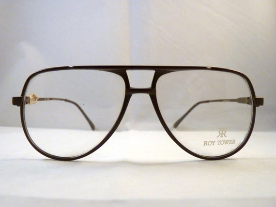 Brown Roy Tower Vintage 80s aviator eyeglasses 1980s Old