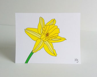"""Floral Note Card -Daffodil Note Card with coordinating """"Wave"""" lined envelope"""