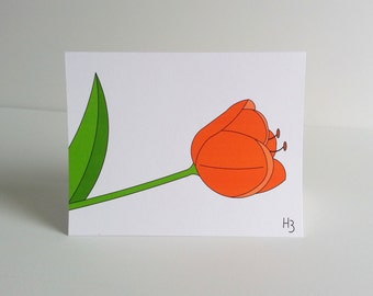 Orange Tulip Note Card - Coral Spring Dutch Flower Stationery - perennial flower card