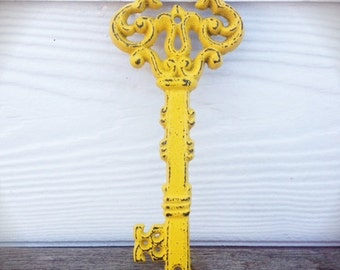 BOLD shabby sunny yellow ORNATE skeleton KEY wall decor // hand painted cast iron // wall art // victorian cottage chic
