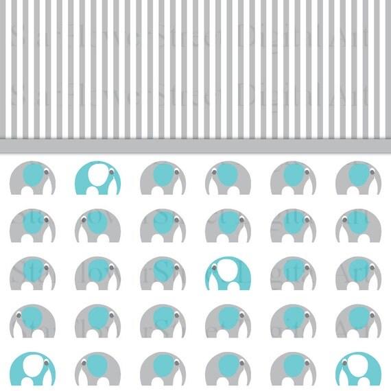 Turquoise Gray Elephant Digital Paper Scrapbook Background