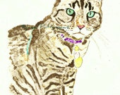 ACEO Tabby Cat Watercolor Print In Memory of Tuffy