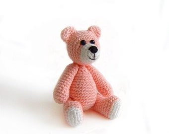 Amigurumi Llittle Crochet Pinkish OrangeTeddy Bear, Made to Order