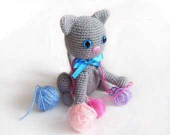 Amigurumi Grey Cat, Crocheted Cat