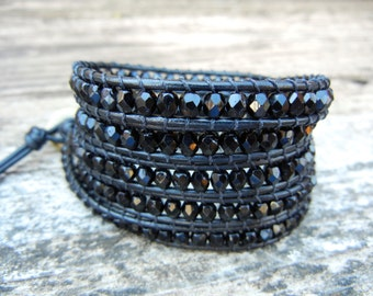 Beaded Leather Wrap Bracelet 4 or 5 Wrap with Jet Black Czech Glass Beads on Black Leather