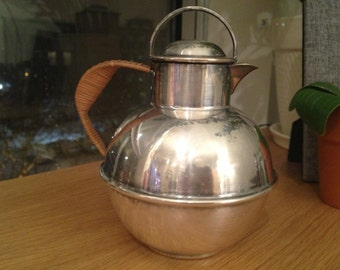 Antique Silver and Rattan Teapot