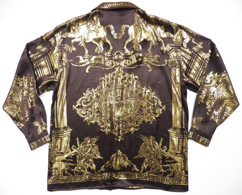 Versace hermes style mens xl shirt silk metallic gold brown for Versace style shirt mens