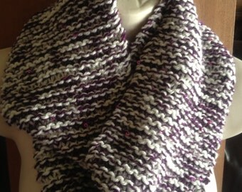 Unique hand knitted/crochet infinity scarf, purple and creamhandmade soft scarf with sequins