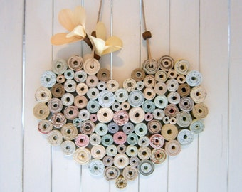 Recycled Paper Heart 7x6 Neutral/Natural Shades, Handmade