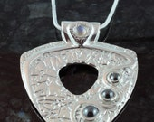 Hematite and rainbow moonstone fine silver pendant - custom order only