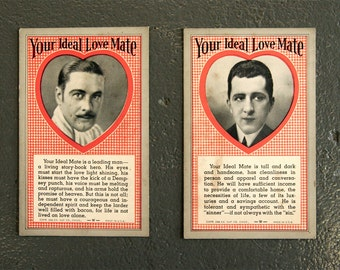 Your Ideal Love Mate Trading Cards Circa 1941 by the Exhibit Supply Company in Chicago, Illinois