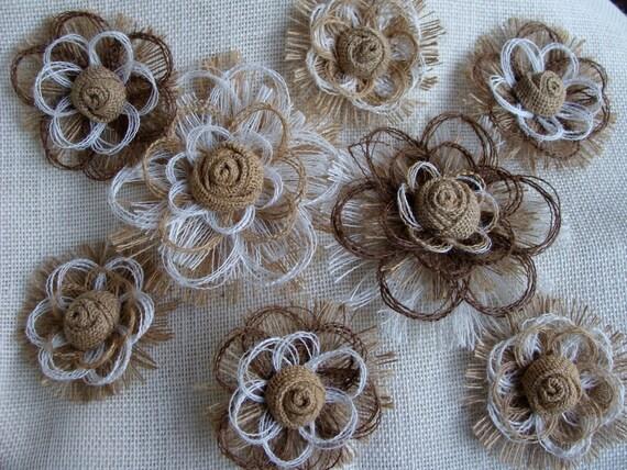 Items Similar To Southern Wedding Burlap Flower Set Of 8
