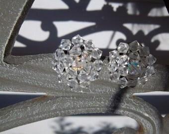Vintage Clear Crystal Clip Earrings 1950s
