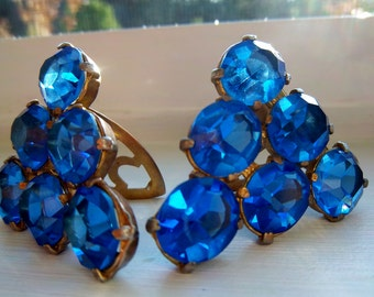Mid Century Vintage Hand Made Blue Rhinestone Shoe Clips 1940s