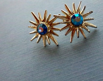 Vintage Mid Century 1950s Star Burst And Rhinestone Screw Back Earrings