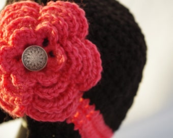 Black & Rose Earflap Hat with Flower - Child