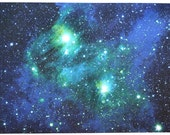 Astronomy Fabric Bright Lights Blue Green 27 x 17 inches on Cotton Sateen Fabric
