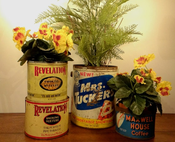 Vintag  Recycled Advertising Tins - Great Country Farmhouse Porch and Garden Home Decor