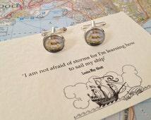 Ship Cufflinks Louisa May Alcott Quote