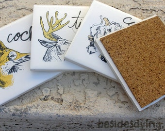 Dirty Dishes coasters-- set of four-- mature