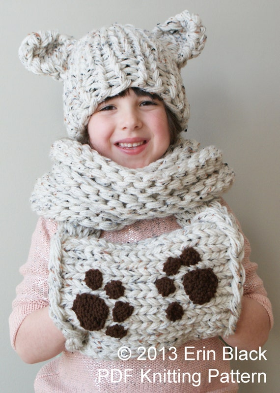 Knitting Inspirations Perth : Diy knitting pattern chunky bear hat and muff cowl in