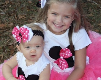 Minnie Mouse tutu outfit - monogramming included in price.