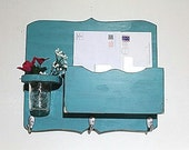 Large Mail Organizer, shabby chic, floral vase, mail holder, key hooks, mail holder, wood, distressed, decor,painted Light Turquiose