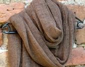 Linen Scarf Shawl Wrap Stole brown, Light, Transparent SALE