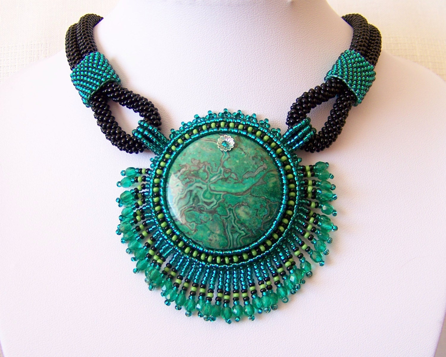 Bead embroidery necklace pendant beadwork with green by lutita