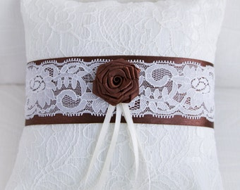 Ring Bearer Pillow, Ivory and Chocolate Bridal Pillow. Ready to ship.