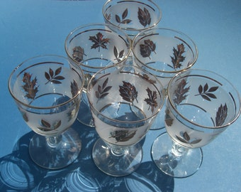 Vintage Libbey Glass - Gold Foliage on White Frosted Glass - Beverage Water Goblets Wine Glasses - Set of 6