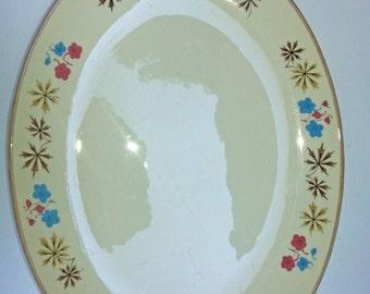 Franciscan China - Larkspur Pattern - Pink and Blue Gladding McBean - Large 13 Inch Oval Serving Platter