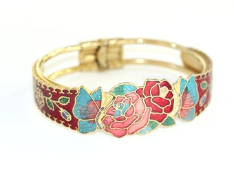 Vintage goldtone floral cloisonné clamper bangle bracelet, butterflies and roses in pink and red