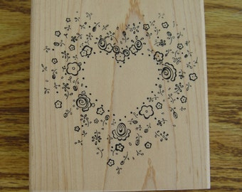 Rubber Stamp - JRL Design - Blossom Blast - Floral Heart Wreath