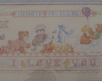 Cross Stitch Kit - I Love You Birth Record - Dimensions - Teddy Bears - NIP