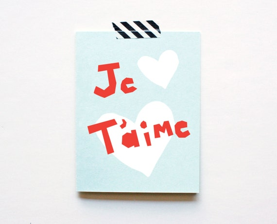 Je Taime, Love Card, French, Hearts