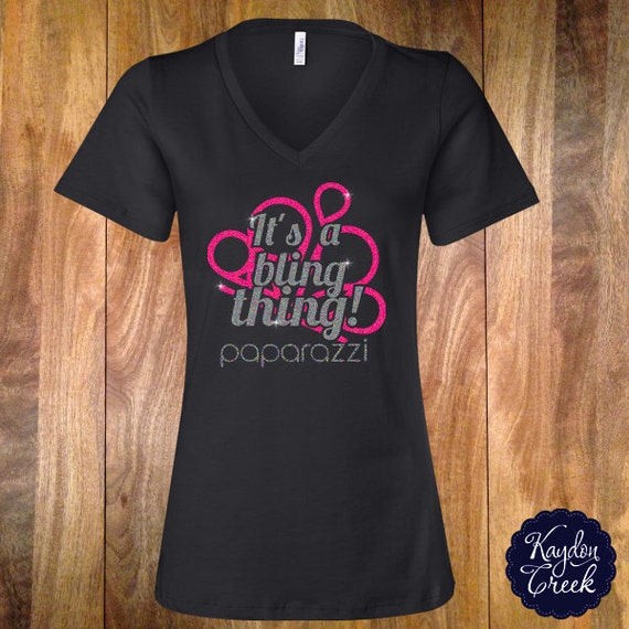 Bling thing vneck inspired by paparazzi jewlery consultants for Best selling t shirts on etsy