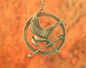 HUNGER GAMES necklace,inspired mockingjay necklace with retro bronze arrow---N002