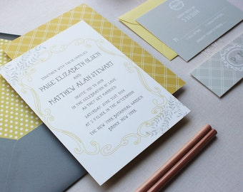 Wedding Invitation Suite, Rustic Wedding Invitation, Grey and Yellow, Whimsical, Custom Wedding Invitation Suite - Storybook Sample