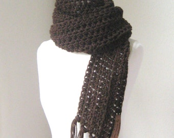 BROWN MEN SCARF Crochet Long Scarf, Knit Handmade, Fashion, Unisex Gift for him, Gift for her,  Women Men