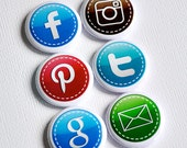 Social Medias - set of six badges/ flair buttons
