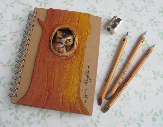 Owl Journal Notebook 'Wise Thoughts' Needle Felted Spiral Bound A6 Altered Kraft Note Pad