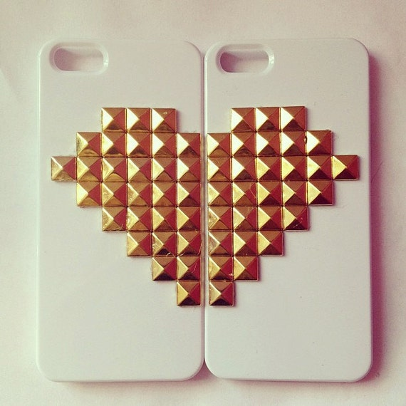 Iphone 4 Or 5 Studded Heart Phone Case Set For Best By Studnyc