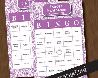 Instant Download BINGO 110 Unique Printable Personalized Bridal Shower Bingo Cards DIY Damask Lilac Lavender Purple Wedding