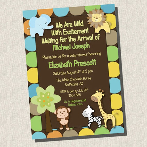 Printable Invitation King Of Jungle Animal Baby Shower